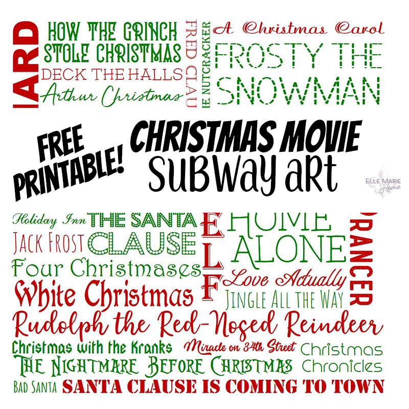 Christmas Movie Subway Art Printable Feature