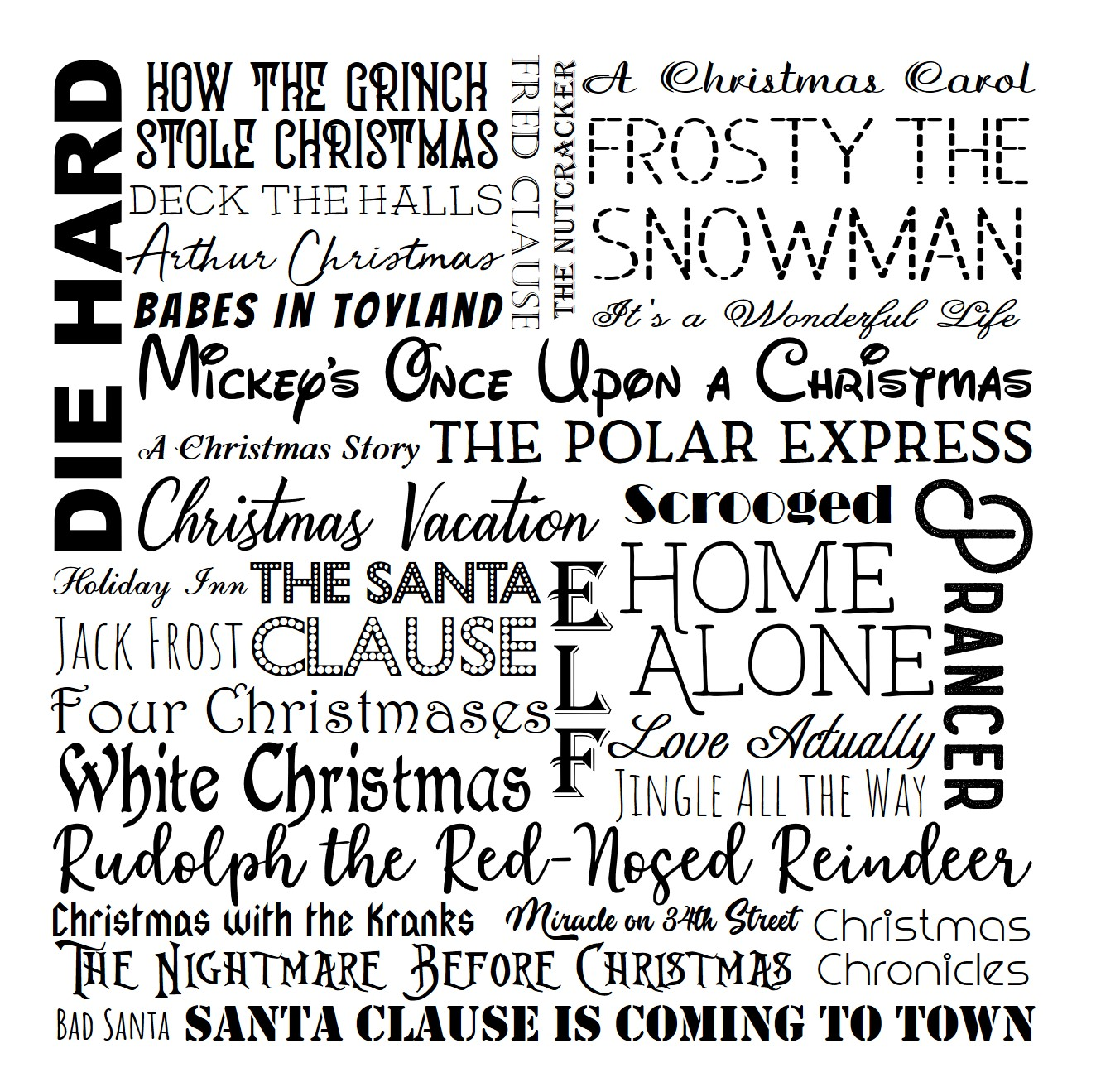 Christmas Movie Subway Art Printable in Black JPEG