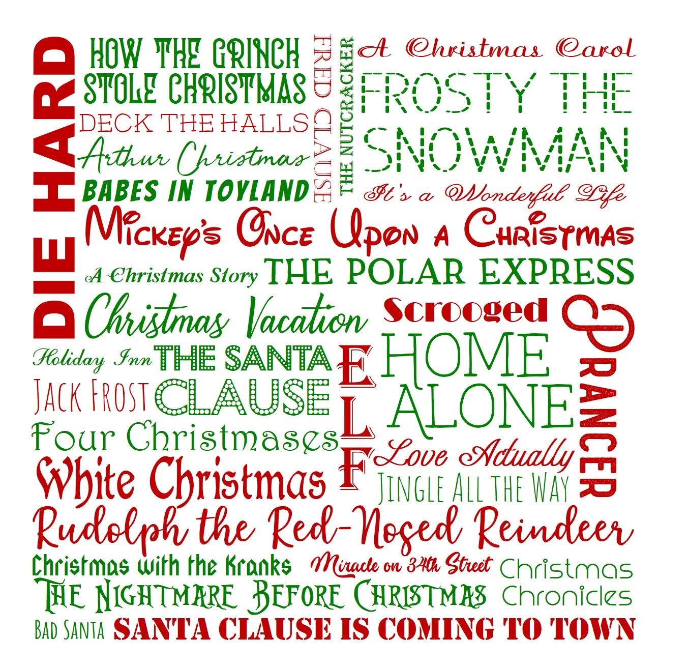 Christmas Movie Subway Art Printable in Color JPEG