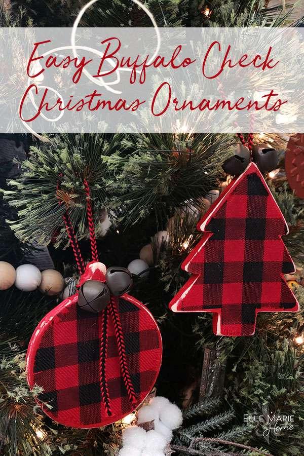 Easy Buffalo Check Christmas Ornaments DIY Rustic Farmhouse Craft Tutorial