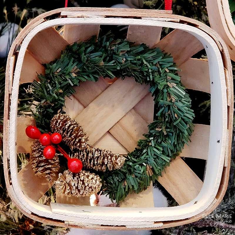 Mini Tobacco Basket Christmas Ornaments Close Pine