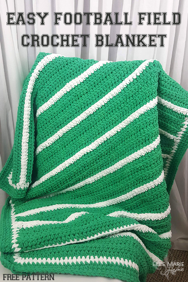 Easy Football Field Crochet Blanket DIY Craft Tutorial Using Bernat Blanket Yarn