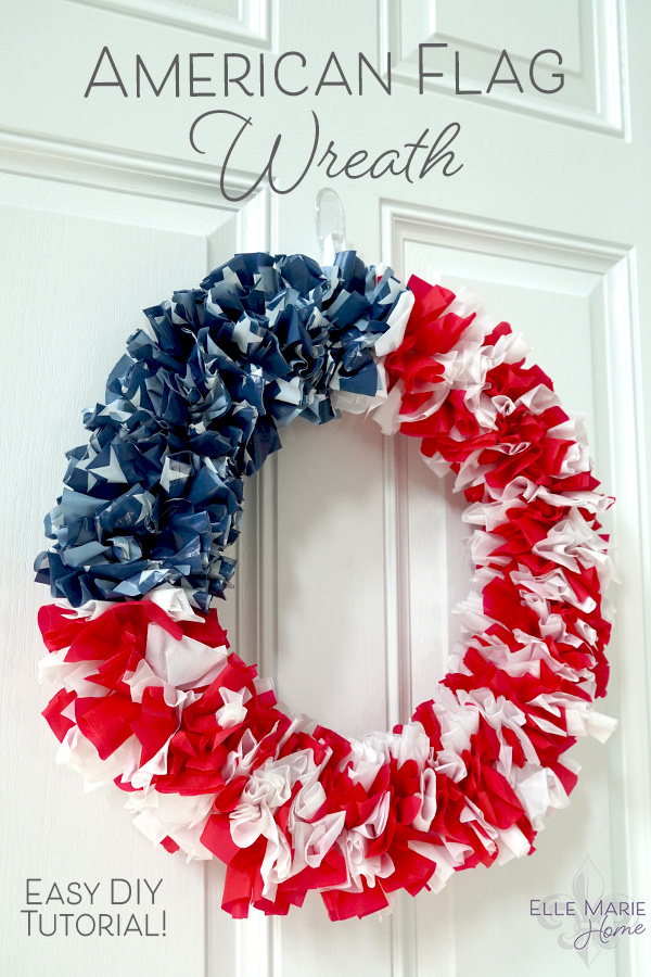 American Flag Wreath Craft Tutorial Patriotic 4th of July DIY Decor