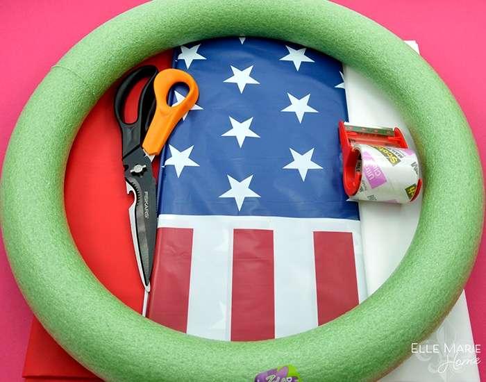American Flag Wreath Materials