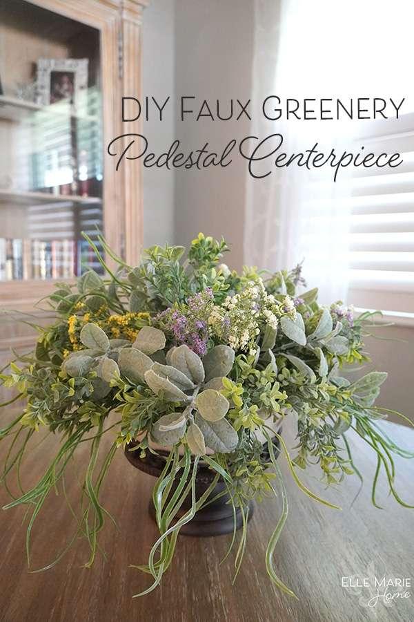 Faux Greenery Pedestal Centerpiece DIY Craft Tutorial