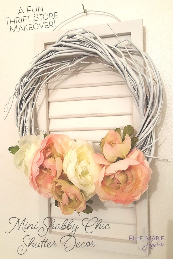 Mini Shabby Chic Shutter with Wreath Accent DIY Upcycle Craft Tutorial 2