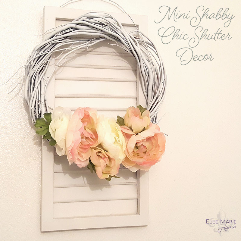 Mini Shabby Chic Shutter with Wreath Accent Feature 2