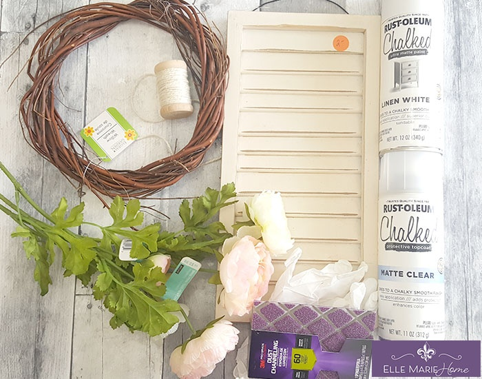 Mini Shabby Chic Shutter with Wreath Accent Materials New