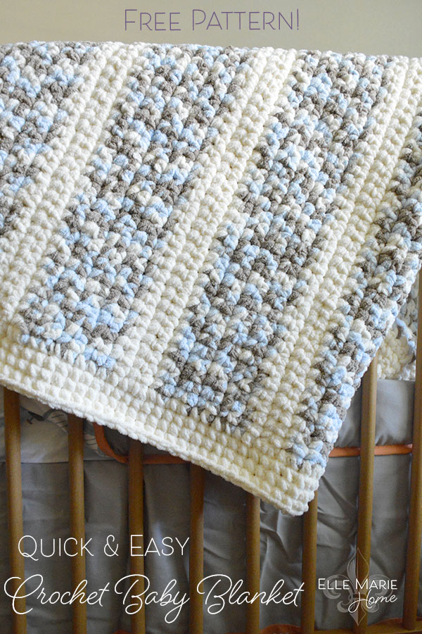 Quick & Easy Crochet Baby Blanket DIY Craft Tutorial using Bernat Blanket Yarn