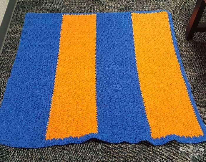 Sporty Color Block Crochet Blanket Complete