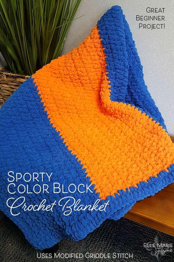 Sporty Color Block Crochet Blanket DIY Craft Tutorial Using Griddle Stitch