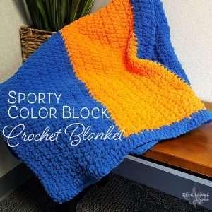Sporty Color Block Crochet Blanket Feature