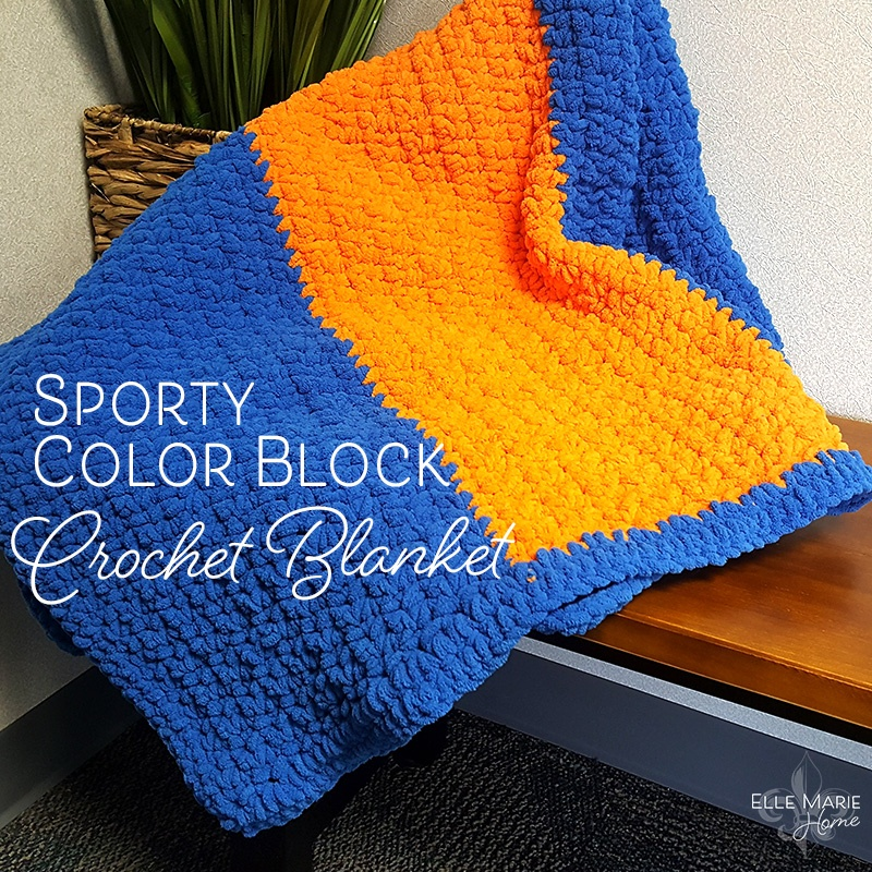 Sporty Color Block Crochet Blanket Feature