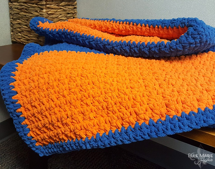 Sporty Color Block Crochet Blanket Folded Orange