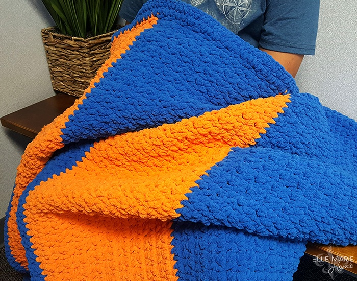 Sporty Color Block Crochet Blanket Held