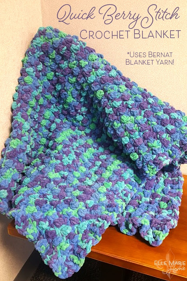 Quick Berry Stitch Crochet Blanket Craft Tutorial Using Bernat Blanket Yarn 1