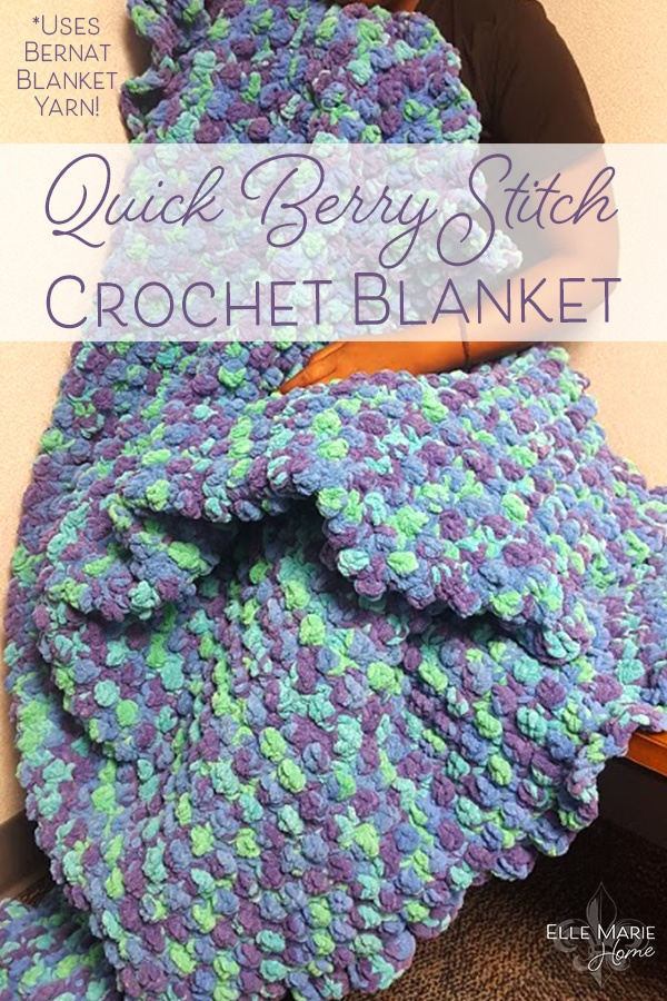 Quick Berry Stitch Crochet Blanket Craft Tutorial Using Bernat Blanket Yarn 2
