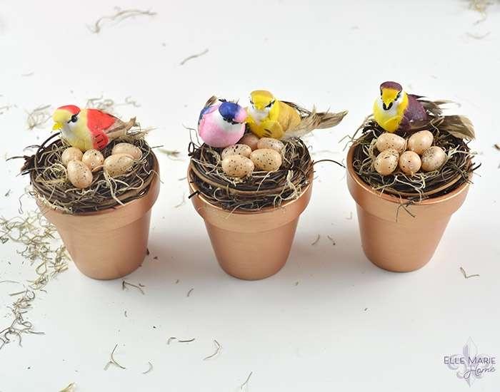 Mini Clay Pot Bird's Nests Complete