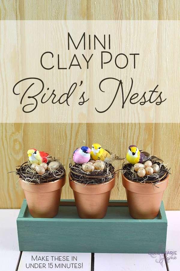 Mini Clay Pot Bird's Nests DIY Spring Craft Tutorial