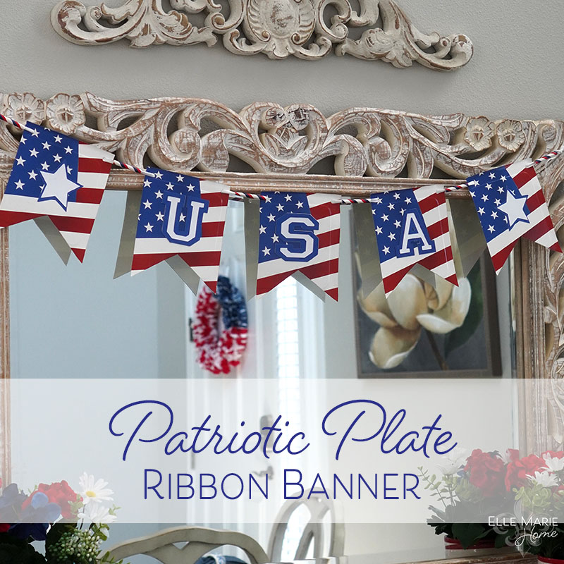 Patriotic Plate Ribbon Banner hanging on mirror