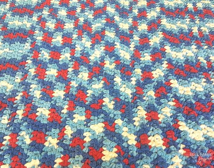 Half double crochet stitch rows.