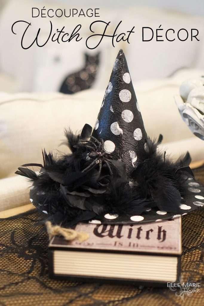 Decoupage Witch Hat Halloween Decor Craft Tutorial