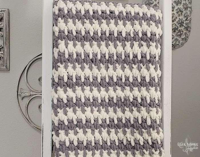 Blanket hanging on ladder