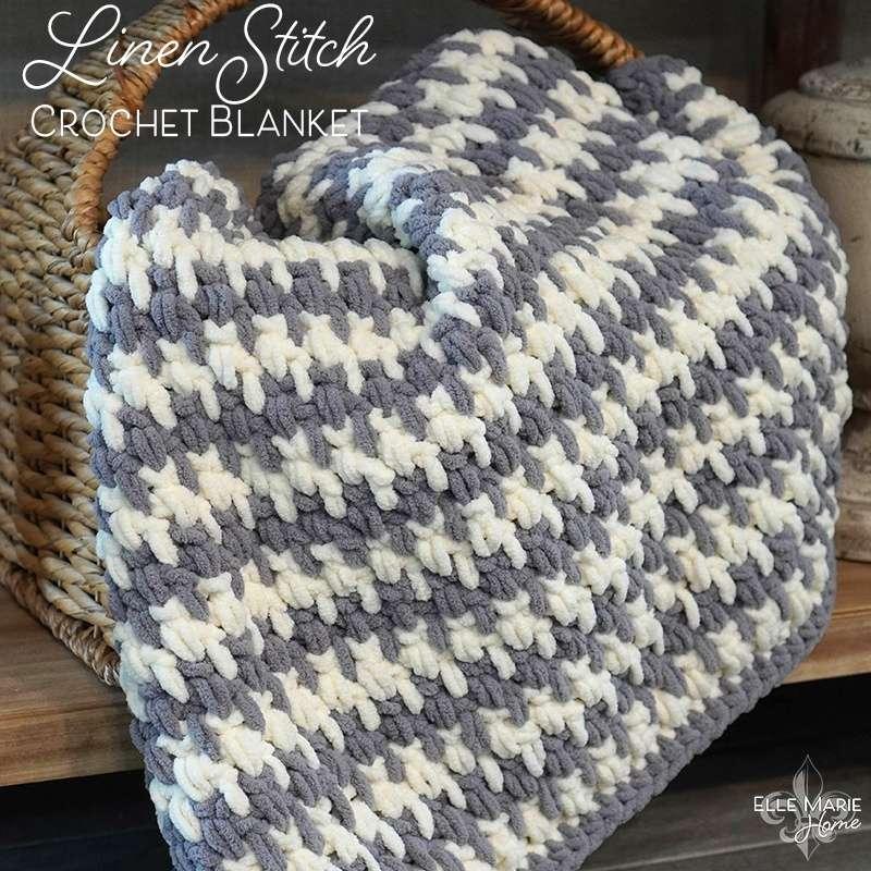 Linen Stitch Crochet Blanket in a basket